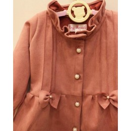 DELLA : Pink suede dress with frill detailing
