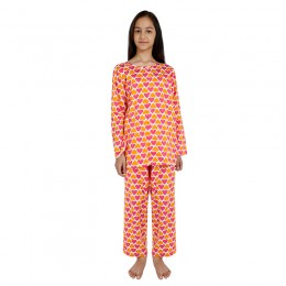 Pink Orange Hearts Print Pure-cotton Nightsuit