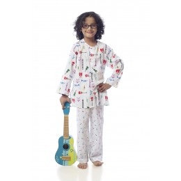 MUSIC Print Pure-cotton Nightsuit