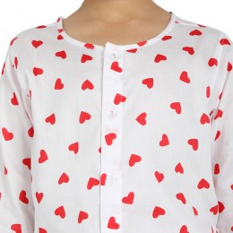 Red Hearts Print Pure-cotton Nightsuit