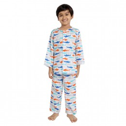 Sharks Print Pure-cotton Nightsuit
