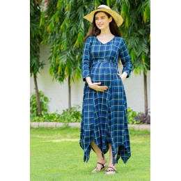 Azure Plaid Maternity & Nursing Maxi