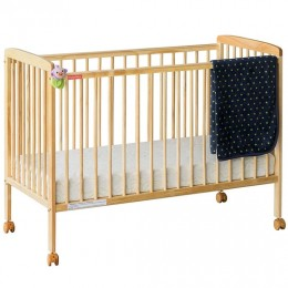 Joy Baby Crib Baby Cot with Mattress Natural Wood