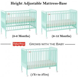 Joy Baby Crib Baby Cot with Mattress - Sea Green
