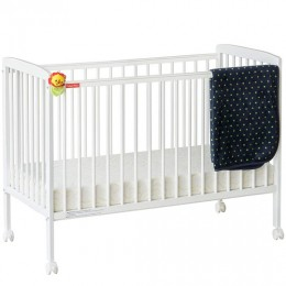 Joy Baby Wooden Crib Baby Cot With Mattress - White