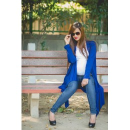 Blue Asymmetrical Maternity Cardigan