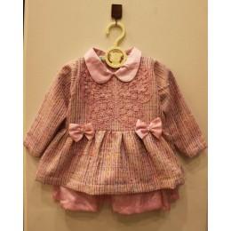 CAROL : Pink tweed Dress with satin detailing