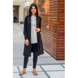 Classic Black Maternity Cardigan with Hoodie
