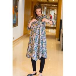 Embellished Leafy Maternity & Nursing Horizontal Zip Dress