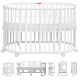 Florence Multifunction Baby Crib and Cot Bed - White