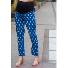 Indigo Cotton Over The Bump Palazzo Pants
