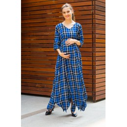 Indigo Plaid Maternity & Nursing Maxi