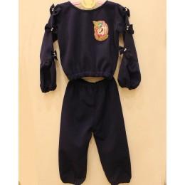 IRIS : Dark blue woolen jogger set with unicorn patch