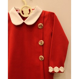 MILIE : Red straight woolen dress with white collar