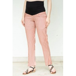 Red Striped Over The Bump Pants