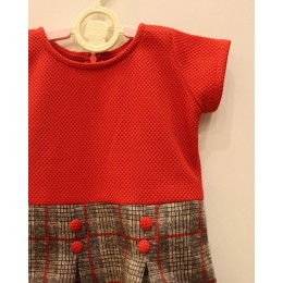 RUTH : Red and Grey check print woolen dress and jacket set