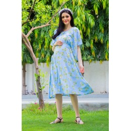 Sky Blue Maternity & Nursing Flap Dress