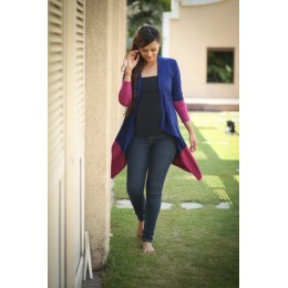 Pink Contrast Stretch Maternity Cardigan