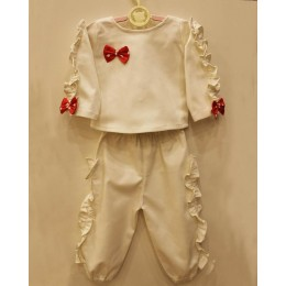 IVY : White jogger set with frills