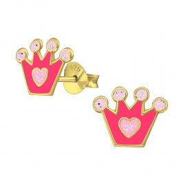 Pink Crown Earrings (Gold Plated)