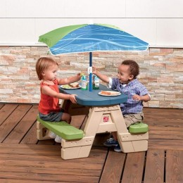 Plastic Sit and Play Picnic Table with Umbrella