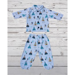 Blue Tribal Tent Night Suit