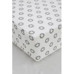 Cot/Crib sheet- Circle Star (Light Grey)