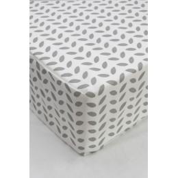 Cot/Crib sheet- Leaf (Grey)