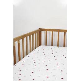 Cot/Crib sheet- Mini Star (Red)
