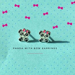 Panda With Bow Earrings