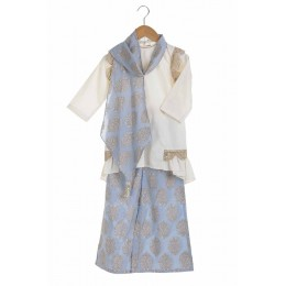 Embellished cream kurta with gold leaf printed palazzo and origami scarf