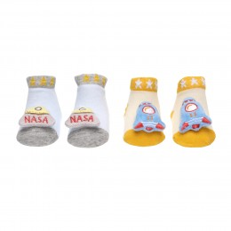 Baby Astronaut Blue & Yellow 3D Socks- 2 Pack