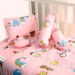 Baby Pink 5pc Quilted Bedding Set