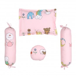 Baby Pink 6pc Quilt Set with Bumper