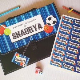 Combo Set of  Document Organizer + Bag Tag + Mini Labels Sheet - Sports Theme