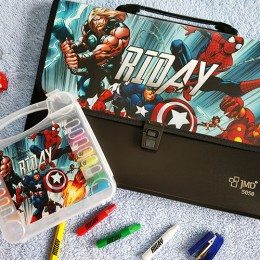 Combo Set of Oil Pastels Kit + Document Organizer - Avengers theme