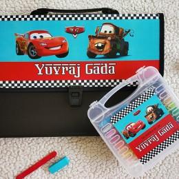 Combo Set of Oil Pastels Kit + Document Organizer - Disney Cars Theme