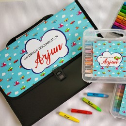 Combo Set of Oil Pastels Kit + Document Organizer - Up In The Sky theme