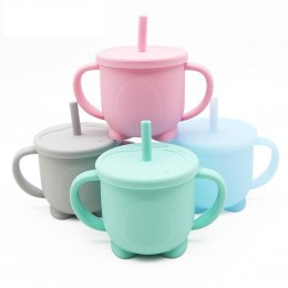 Silicone Sippy Straw Cup – Blue