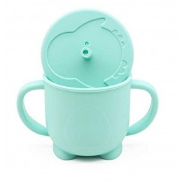 Silicone Sippy Straw Cup – Sea Green