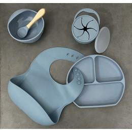 Silicone Baby Feeding Set – Blue – (Bib + Bowl + Plate + Spoon + Snack Cup)