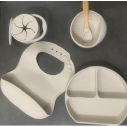 Silicone Baby Feeding Set – Grey – (Bib + Bowl + Plate + Spoon + Snack Cup)