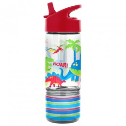 Flip Top Bottle with Snack Container Dino
