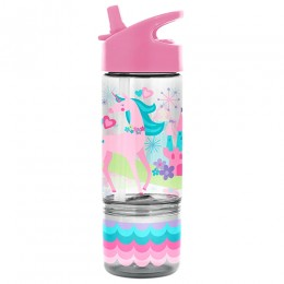 Flip Top Bottle with Snack Container Unicorn