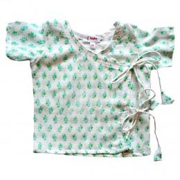 Pure Mulmul Angrakha (Jhabla) Pajama Set- Morpankh
