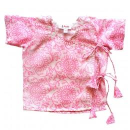 Pure Mulmul Angrakha (Jhabla) Pajama Set- Pink Ivy