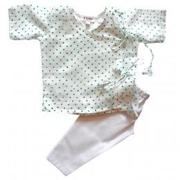 Pure Mulmul Angrakha (Jhabla) Pajama Set- Polka