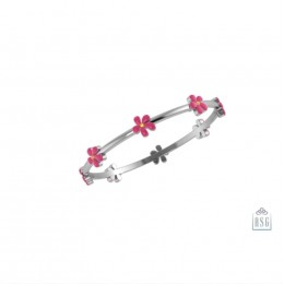 Sterling Silver Floral Baby Bangle