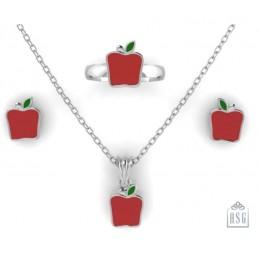 Sterling Silver Apple Baby Jewellery Set