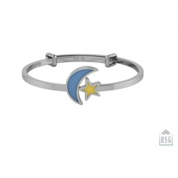 Sterling Silver Baby Bracelet Kada adjustable with moon and star